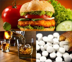 Food, alcohol and drugs